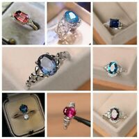 Elegant Women 925 Silver Rings Sapphire Multi-colors Topaz Wedding Gift Size6-10