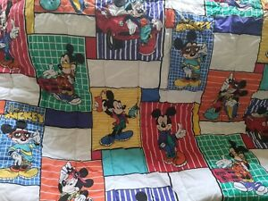 Vintage Disney Comforter Blanket Mickey Mouse cool phone car skate Twin Bed Size
