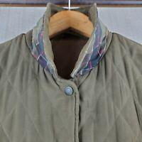 BARBOUR ENGLAND Size 10 US Large Womens Sage Olive Microfiber Quilt Field Jacket