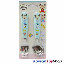 Disney Mickey Mouse Stainless Steel Spoon & Noodle Fork Set Kids BPA Free BLUE