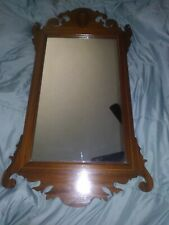 Vintage Chippendale Inlaid Mahogany Wall Mirror