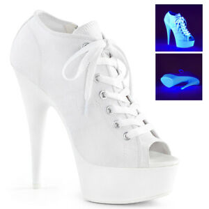 """Pleaser 6"""" white sneaker style lace up ankle bootie"""