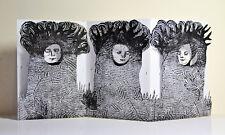 nabARus 151116- Linogravure - Linocut sur papier plié  9x13 cm Outsider Art