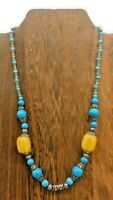 "South West Style Faux Turquoise Seed Bead Yellow Glass  Silver Tone 18"" Necklace"