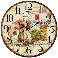 AMS 9466 Wanduhr Quarz analog rund vintage retro mit Blumen Motiv Ø