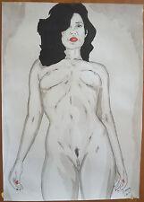 """Dessin encre de chine erotique nu féminin fine art """"sure d elle"""" A4  G.Vanspey"""