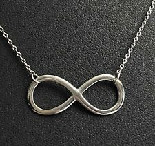 """BEAUTIFUL ESTATE STERLING SILVER STATIONARY INFINITY DESIGN NECKLACE 17"""" LONG"""