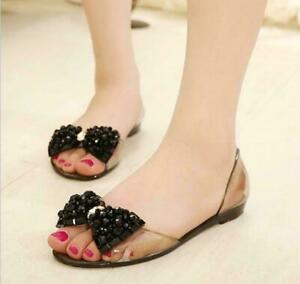 Women Beach Bowknot Sandals Summer Flats Peep Toe Jelly Slip On Slingback Shoes