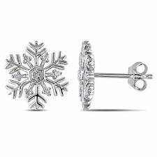 Amour Sterling Silver Snowflake Diamond Stud Butterfly Earrings