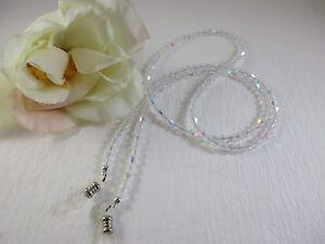 "Extra Long 32"" SHIMMERING CRYSTAL AB Czech Bi-Cone Shape Beaded Eyeglass Chain"