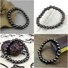 Black Magnetic Hematite 8mm Round Ball Beads Stretch Elastic Bracelet
