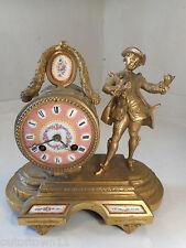 Antique H Marc Striking Gilt Spelter Clock , Porcelain Panels 1616  7/4 WW238mnx
