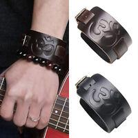 Punk Men's Wide Leather Belt Bangle Jewelry Cuff Bracelet Wristband Adjustable
