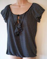 Womens Top Size 8 New Ladies Black Grey Stripe Gathered Keyhole Detail Scoop Nck
