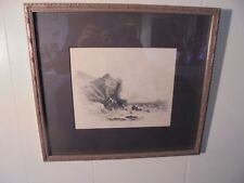 Drawing Seascape of Cliffs with Stormy Sea Signed D Bowley 1840 Boat Castle