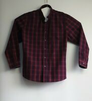 Rivers Size XL Mens Cotton Big Fit Maroon Blue Check Shirt Long Sleeve