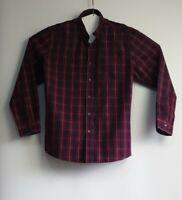Rivers Size XL Mens Cotton Big Fit Maroon Blue Check Shirt Long Sleeve