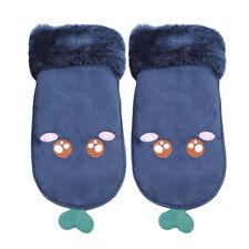 Ears Winter Thick Gloves Plush Cuffs Suede Leather Women's Outdoor Mitten LH