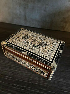 Egyptian Handmade Wooden Trinket Jewelry Box, Inlaid Mother Of Pearl, Hinged