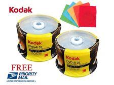 100 KODAK LOGO 8X Blank DVD+R DL Dual Layer Disc 8.5GB + 100 Color Paper Sleeves