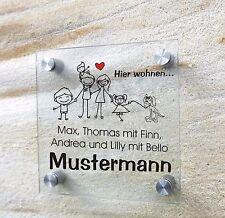 Familie mit Hund, individuelles Namensschild, Türschild, Acryl 20 x 20 cm
