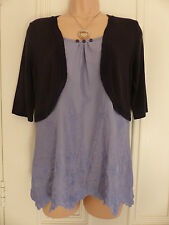 Per Una size 10 navy thin knit shrug over pale blue cotton embroidered top