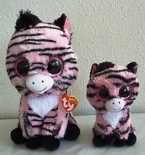 """2 Ty Beanie BOO ZOEY the PINK ZEBRA 6"""" & 9"""", shiny eyes, red tags"""