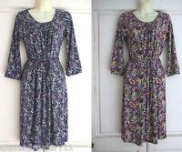 Gorgeous Boden Purple / Brown Branch Print Tea Dress 6 10 12 14 16 20 22 R & L