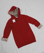 NWT Burberry Girl Hooded Cashmere Check Trim Tunic Dress 4Y CRIMSON