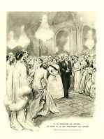 Publicité ancienne réception de l'Elysée  la reine le roi 1938 issue de magazine