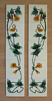 """Art Nouveau Yellow Morning Glory Tube Lined Fireplace 6"""" x 6"""" Tiles (10 tiles)"""