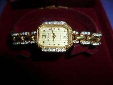 ESTATE  .VINTAGE LADIES  BULOVA   DRESS WATCH  GOLD ELECTROPLATED  WITH  ZIRCONS