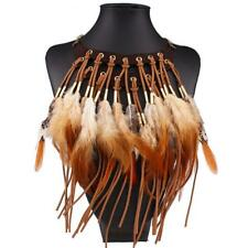 Feather & Tassels Statement Bib Necklace, Bohemian Boho Festival Tribal Style