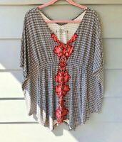 Soma Black, White & Pink Printed Kimono Blouse Sz S