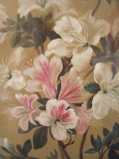 CA 1900 GOUACHE PAINTING PINK AND WHITE LILIES CUSTOM OAK, BLACK FRAME GOLD MAT