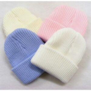 NEWBORN KNITTED BEANIE HAT BABY GIRL BOY WARM UNISEX HOSPITAL HATS WHITE CREAM