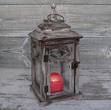 Laterne Holz braun antik Windlicht Glas Landhaus Holzlaterne Metall 37cm groß