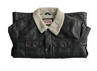 Levi's Classic Faux Leather Sherpa Trucker Levis Jackets Dark Brown