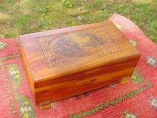 DECO ERA CEDAR WOOD CARVED JEWELRY BOX with VILLAGE SCENE PRINT ~ Great Patina