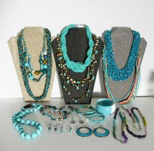 Jewelry Lot Faux Turquoise Necklace Bracelet Earrings Southwest Style Seedbead