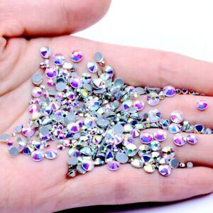 Glass White AB Hotfix Rhinestone Flat Back Iron On Strass Crystal Hot fix Stones