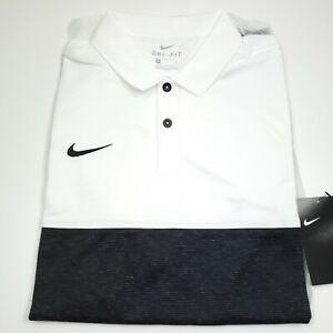 $70 NIKE Dri- Fit Short Sleeve Athletic Polo Shirt Mens Size Large Black & White