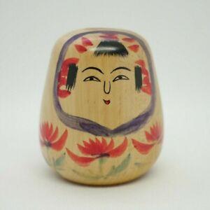 8cm Vintage Japanese Dento Traditional Kokeshi Doll Daruma Kiku Sato (1911-2000)