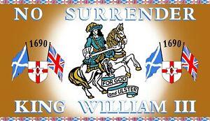 king William III house flag 5 x 3 orange order loyalist no surrender ulster unio
