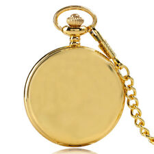 Luxury Golden Smooth Face Retro Quartz Pocket Watch Antique Pendent Fob Chain