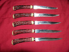 5 Vintage Japanese Steak Knives Faux Stag Handle Old Dinner Knife Japan Set