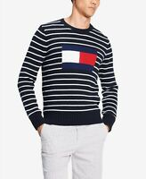 NWT $99 Tommy Hilfiger Men's Sweater Logo Intarsia Stripe white black warm