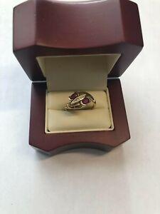 14kt Yellow Gold Ruby (2) & Diamonds (5) Ring Size 6 Brand New
