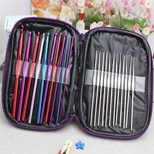 Useful 22PCS Colorful Aluminum Stainless Steel Crochet Hooks Needles Set Kit