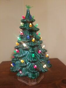 "VINTAGE CERAMIC 11""  LIGHTED CHRISTMAS TREE  MARKED GILBERT WORKING 1971"
